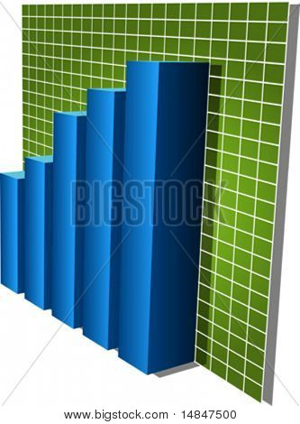 Three-d barcharts, blue over green, 3d isometric vector illustration