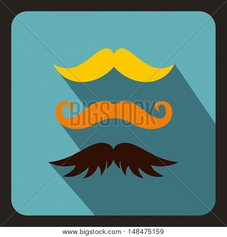 Hipster mustache icon in flat style on a baby blue background vector illustration