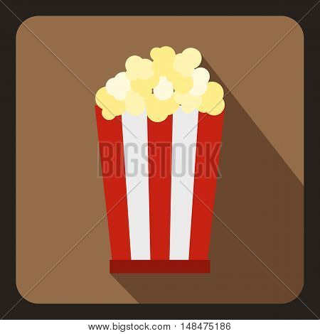 Popcorn in striped bucket icon in flat style on a coffee background vector illustration