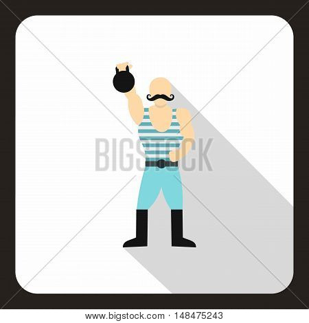 Strong man with kettlebell icon in flat style on a white background vector illustration