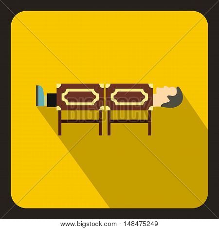 Magician sawing box icon in flat style on a yellow background vector illustration