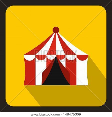 Circus tent icon in flat style on a yellow background vector illustration