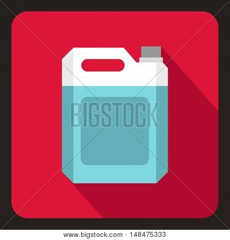 Plastic jerry can icon in flat style on a crimson background vector illustration