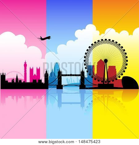 Illustration of colorful London landmarks with reflections on river thames