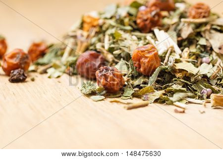 Pile Of Dry Herb Leaves And Fruits