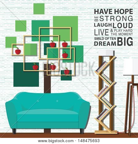 Living room with furniture flat style vector illustration.