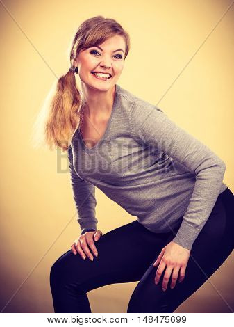 Blonde Smiling Woman Portrait.