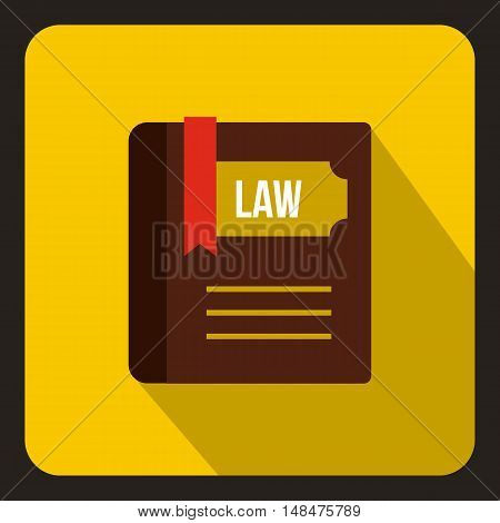 Law book icon in flat style on a yellow background vector illustration