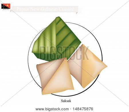Papua New Guinean Cuisine Saksak or Traditional Tapioca and Banana Dumplings in Coconut Milk Filling in Counts Banana Leaf. One of Most Popular Desserts in Papua New Guinea.