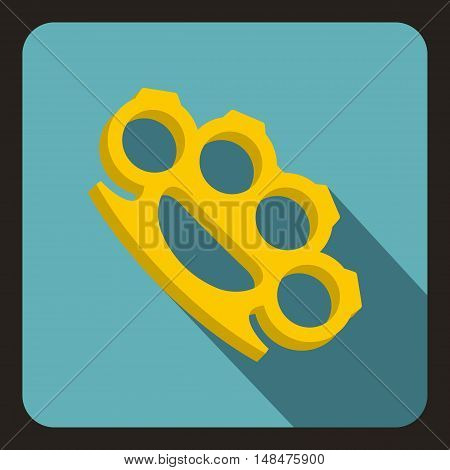 Brass knuckles icon in flat style on a baby blue background vector illustration