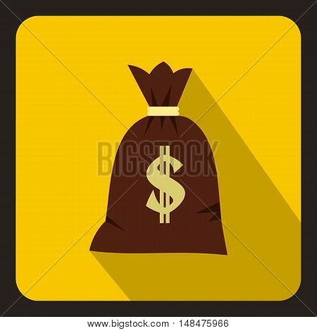 Money bag icon in flat style on a yellow background vector illustration