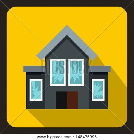 House with broken windows icon in flat style on a yellow background vector illustration