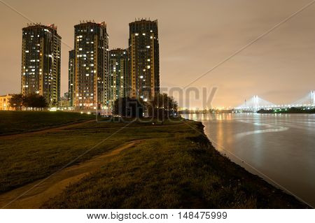 Microdistrict Ribatskoe at night on the outskirts of St. Petersburg Russia.
