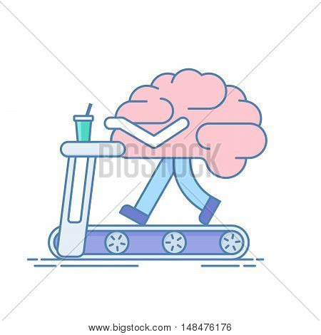 Brain Workout. The concept of brain activity. Training or sports activities on the treadmill . Vector illustration in a linear style isolated on white background