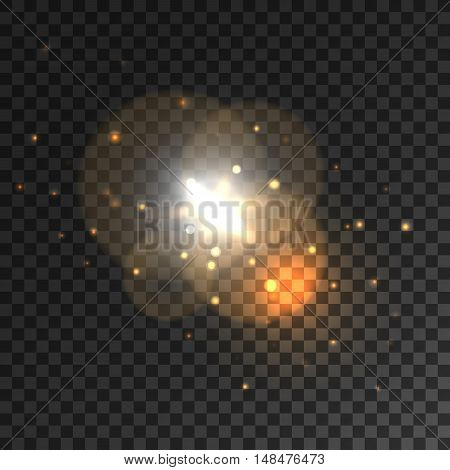 Glittering golden light sparks with lens flare effect. Sparkling particles dispersing from bright star on transparent background