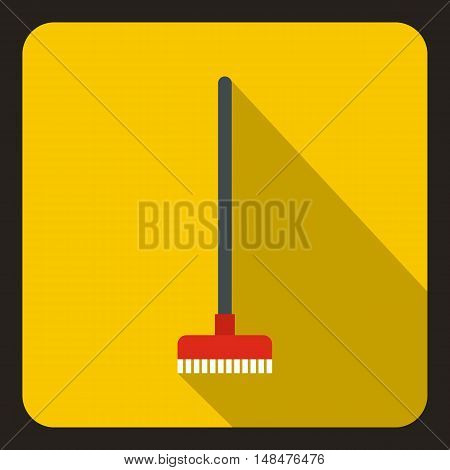 Red brush for a floor icon in flat style on a yellow background vector illustration