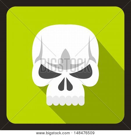 Human skull icon in flat style on a lime background vector illustration
