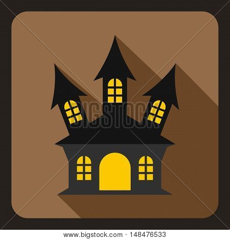 Halloween, witch castle icon in flat style on a coffee background vector illustration