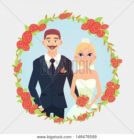 Cute cartoon wedding couple. Wedding couple with bouquet. Vector cartoon illustration of a wedding. Wedding floral frame with roses.