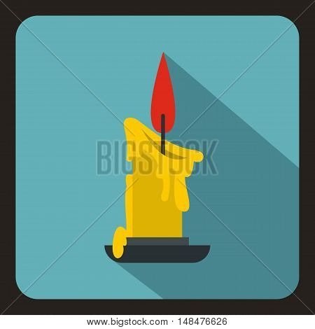 Burning candle icon in flat style on a baby blue background vector illustration