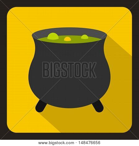 Witch cauldron with green potion icon in flat style on a yellow background vector illustration