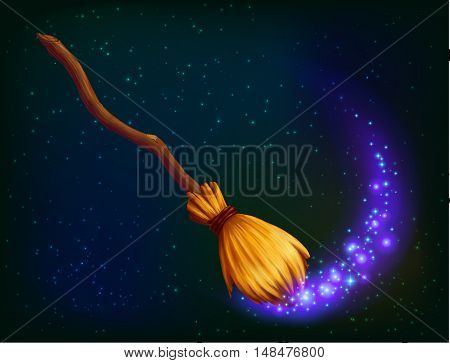 Vector magic witch broom with violet shining on dark background
