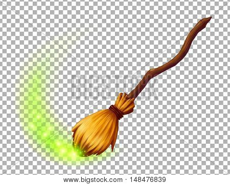 Vector magic witch broom on transparency grid background