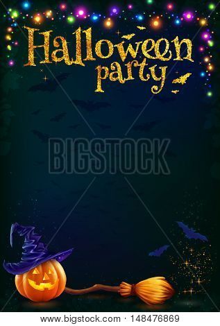 Halloween pumpkin and witchs broom on dark background with colorful lamps garland, vector Halloween party poster template.