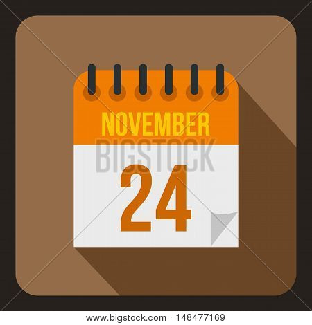 Calendar november twenty fourth icon in flat style with long shadow. Date symbol vector illustration