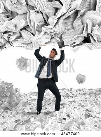 Businessman is repaired by a rain of big leaves