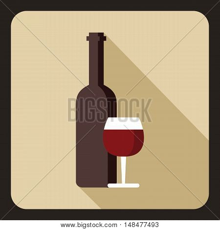 Red wine and glass icon in flat style with long shadow. Drink symbol vector illustration