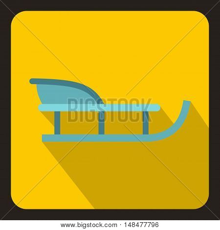 Sleigh icon in flat style with long shadow. Snow and entertainment symbol vector illustration