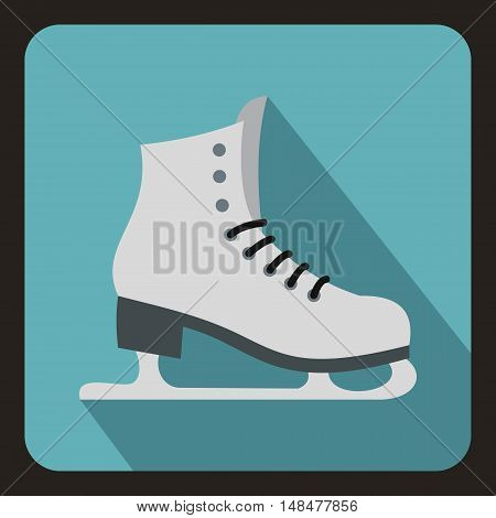Skates icon in flat style with long shadow. Winter sport symbol vector illustration