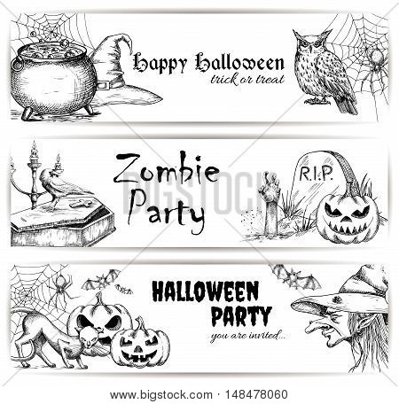 Halloween vector pencil sketch decoration elements. Sketched icons of scary witch in hat, bubbling potion in cauldron, coffin and tomb with zombie hand, creepy pumpkins, black cats. Halloween party decoration banners design