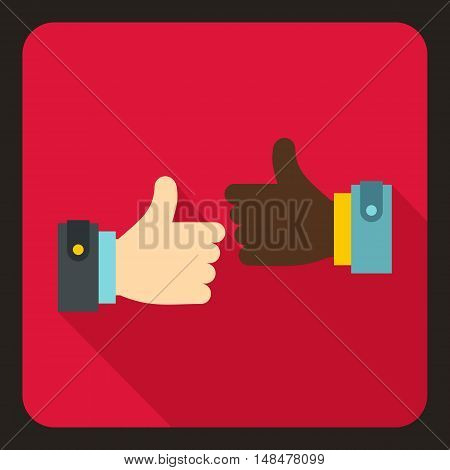 International gesture approval icon in flat style with long shadow. Gestural symbol vector illustration