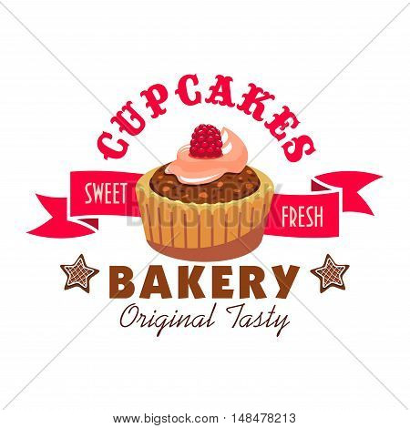 Sweet fresh cupcakes icon. Cake with chocolate nuts filling, whipped cream, raspberry topping. Bakery emblem with red ribbon and stars. Template for cafe menu card, cafeteria signboard, patisserie poster