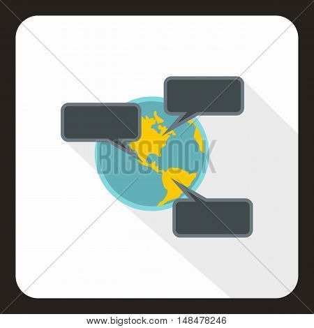 Online chat around the world icon in flat style with long shadow. Communication symbol vector illustration