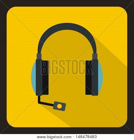 Headphones with microphone icon in flat style with long shadow. Device symbol vector illustration