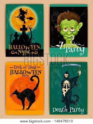 Stylized retro posters for Halloween party with cartoon characters of black cat, haunted witch house, monster, zombie skeleton with scythe. Happy Halloween design elements for banner, placard, greeting and invitation card