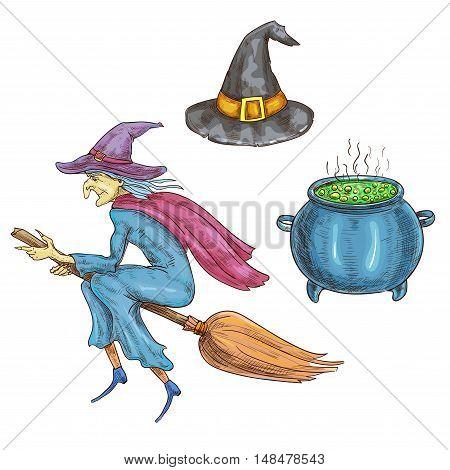 Witch character with Halloween sorceress elements. Isolated sketch icons of hag with hat flying on broom, boiling cauldron with magic potion. Halloween cards and posters decorations