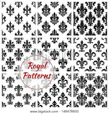 Royal french lily seamless backgrounds. Wallpaper with black vector pattern icons of heraldic fleur-de-lis on white background