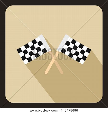Racing flags icon in flat style with long shadow. Start race symbol vector illustration