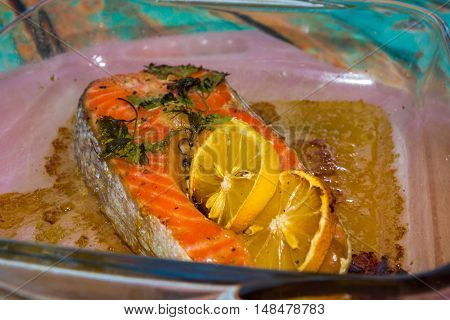 Baked Salmon Steak Close-up