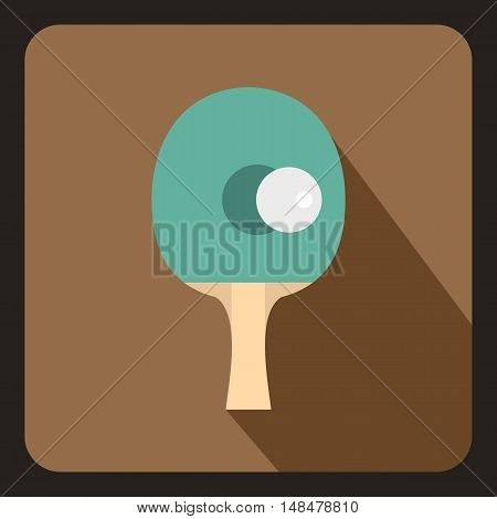 Table tennis racket with ball icon in flat style with long shadow. Sport symbol vector illustration