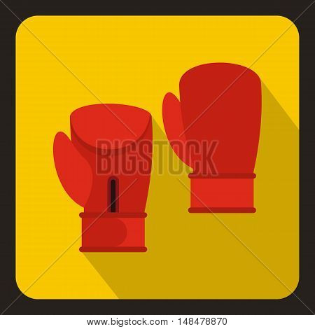 Red boxing gloves icon in flat style with long shadow. Training symbol vector illustration