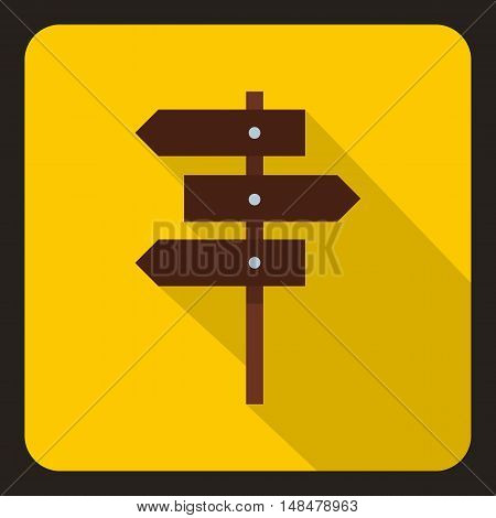 Road sign icon in flat style with long shadow. Signpost symbol vector illustration