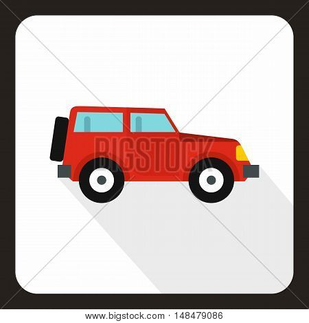 Jeep icon in flat style with long shadow. Transport symbol vector illustration