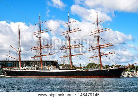 Rostock, Germany - August 22, 2016: Four-master sailing ship STS Sedov, formerly Magdalene Vinnen II and Kommodore Johnsen. Sedov is Four-masted steel barque and a sail training vessel.