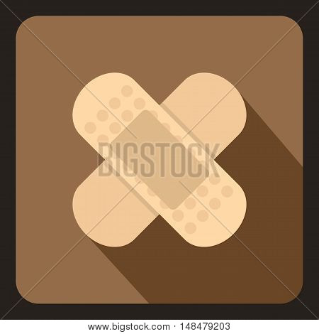 Medical plaster icon in flat style with long shadow. Medicine symbol vector illustration