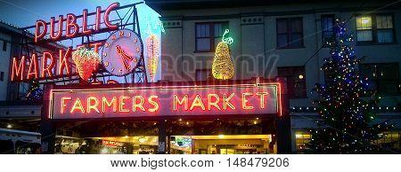 Saettles Farmer Market at Christmas time in Seattle, Washington.